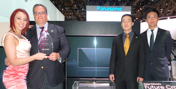 Panasonic VP of Merchandising HE Products accepting the Best HDTV Award along with Jun Kim and Kiichiro Hayamizu from HD Guru presenter Tiffany